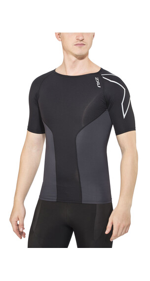 2XU Elite Compression Top S/S Men Crew Neck black/steel